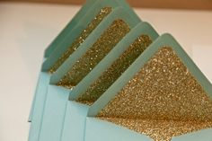 Mint Green and Gold Wedding Invitation Envelopes - so exciting! Could also be an invitation to visit the Land of Oz. Glitter Wedding, Gold Glitter, Glitter Liner, Gold Sparkle, Glitter Party, Sequin Wedding, Teal Party, Glitter Crafts, Glitter Boots