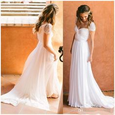 2016 White Chiffon Wedding Dresses Cheap Under 100 Bridal Gowns Cap Sleeves Beach Wedding Dresses Vintage Backless Summer Bohemia Long Sexy