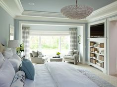 Transitional Bedroom Design Ideas, Pictures, Remodel and Decor This tranquil master bedroom suite includes a small seating area, beautiful views and an interior hallway to the master bathroom & closet. Bedroom Inspirations, Bedroom Colors, Beautiful Bedrooms, Contemporary Bedroom, Interior Design, Home, House, Remodel Bedroom, Home Bedroom