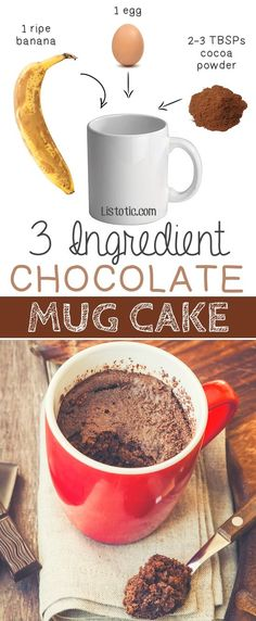 #6. 3 Ingredient Flourless Chocolate Mug Cake -- bakes in 1 minute in the microwave! | 6 Ridiculously Healthy Three Ingredient Treats #totalbodytransformation
