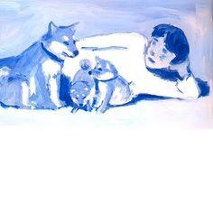あの犬6 #shiba #shibainu #dog #tokyo #japan #tatsurokiuchi #love #acrylic #life #love #illustration #illustrator #ultramarine #friends