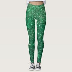 Green Modern Sparkles and Dots Pattern Leggings - classic gifts gift ideas diy custom unique Blue Leggings, Printed Leggings, Popular Christmas Gifts, Christmas Holidays, Frog Meme, Christmas Leggings, Blue Fashion, Look Cool, Dressmaking