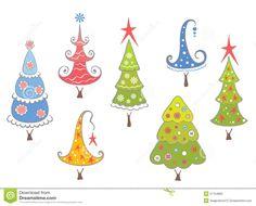 Accumulazione Divertente Degli Alberi Di Natale Illustrazione Vettoriale - Immagine: 21754865