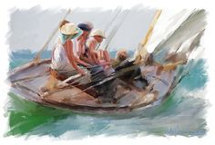 Women in Hats Sailing-painting by JAmes Scott Fleming