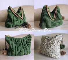 Crochet over sized green hobo bag crochet