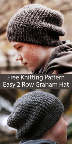 Nov 2019 - Free Knitting Pattern for Easy 2 Row Repeat Graham Hat - Reversible slouchy unisex beanie knit with a 2 row repeat broken rib stitch. Rated easy by Ravelrers. Designed by Jennifer Adams. Knit Hat Pattern Easy, Beanie Knitting Patterns Free, Free Knitting, Baby Knitting, Free Pattern, Easy Knit Hat, Slouchy Beanie Pattern, Baby Hut, Knitted Hats