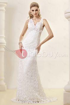 Amazing Sheath/Column V-neck Court Lace Dasha's Wedding Dress : Tidebuy.com
