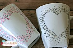 DIY Confetti Painted Heart Mugs | TodaysCreativeBlog.net You could do this on a serving platter or other glassware too!