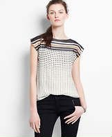 Petite Dot Striped Flutter Sleeve Top - For a look that instantly boosts your style repertoire, wear this confident mix of bold stripes and playful dots with slim tailored pants. Boatneck. Flutter sleeves. Solid back.