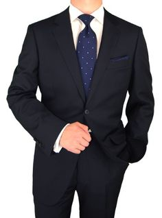 Luciano Natazzi Made in Italy Mens Suit Canali Cashmere Wool 160s 2 Button Navy $459.00