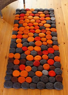 Hand made Rug. Wool Felt Pebbles. Multi color. Orange Red