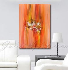 Orange wall art abstract landscape large print by JuliaApostolova