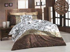 Pościel satynowa Valentini Bianco Limited Edition REBECA KAWA, 160x200 + 2x 70x80 cm oraz 220x200 + 2x70x80 cm, 100% bawełna.