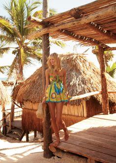 tropical, sun dress, blonde tiki hut, palm tree, beach