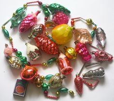 Retro Christmas Decor - Glass Baubles Ornaments Decorations - set of 20 - Set 12 - 1970s - from Russia / Soviet Union / USSR