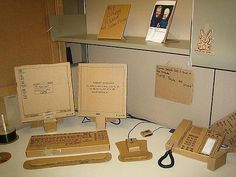 Art of Trolling: cardboard desk area