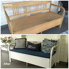 Wooden sofa redone Wooden Sofa, Entryway Bench, Porch, This Is Us, Relax, Storage, House, Furniture, Ideas