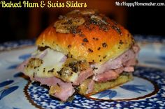 Baked Ham & Swiss Sliders - great way to use leftover ham, or you could use deli ham too. This recipe was one of the finalists in the Mr Food Ultimate Weeknight Meal contest too - sooooo good!!