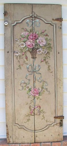 vintage door with handpainting//maybe I can make a decal of this