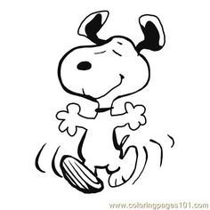 Free Snoopy Clip Art | Coloring Pages Finished Snoopy Dancing (Cartoons > Snoopy) - free ...