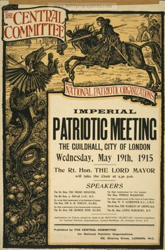 "British WWI poster from The Central Committee, ""Imperial Patriotic Meeting, The Guildhall, City of London, Wednesday, May 19th, 1915 ..."""