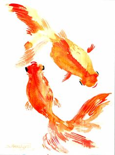 Goldfish Original watercolor painting 12 X 9 in by ORIGINALONLY, $26.00