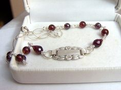 Sterling & Garnet Bracelet Forget Me Not Focal by ExquisiteStudios, $79.00