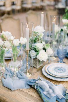 Romantic wedding reception decor in blues and whites  #wedding #weddingreception #receptiondecor #luxurywedding Romantic Wedding Receptions, Wedding Reception Decorations, Wedding Themes, Wedding Colors, Wedding Ideas, Glamorous Wedding, Diy Table Decorations, Luxury Wedding, Blue Wedding Centerpieces