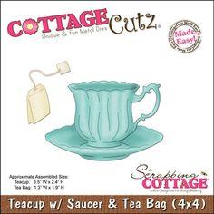 Cottage Cutz Teacup W/Saucer & Tea Bag