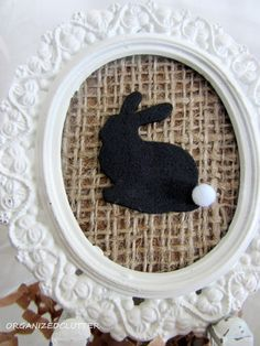 Dollar Tree Foam Bunny Sticker Painted Black with Acrylic Paint.