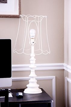 Ghost lamp shade......LOVE THIS, perfect since I LOVE the thirft store.