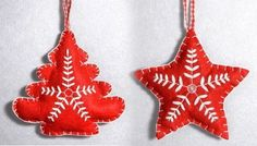 Easy instructions and plenty of christmas ornament templates to make DIY felt christmas ornaments to decorate your tree with.
