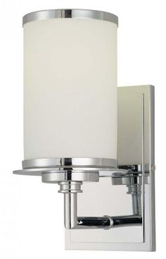 """Glass Note ENERGY STAR® 9 3/4"""" High Wall Sconce by Minka Lavery. $87.00. This Minka Lavery wall sconce offers charming, updated good-looks. Plus, this fluorescent design meets rigorous ENERGY STAR® efficiency standards. The simple, stylish frame comes in a gleaming chrome finish. A cylinder of etched opal glass helps create a warm glow. The perfect energy efficient choice for hallways, bedrooms, baths, and more. Can be installed as uplight or downlight."""