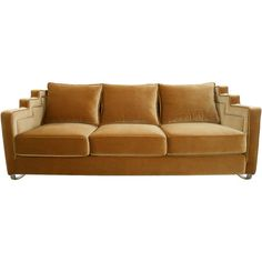 Showcasing gold-hued upholstery and staircase arms, this eye-catching sofa offers a glamorous rendition of midcentury style.Product: ...