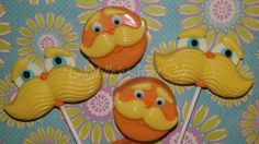 Set of Lorax Chocolate Covered Oreos and Chocolate Moustache Lollipops Dr Seuss by DaniellesSweetSide on Etsy https://www.etsy.com/listing/244371981/set-of-lorax-chocolate-covered-oreos-and