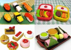 These erasers also can be used as a toy. There are various forms like this. What do you like in these erasers? I like Japanese cake erasers!