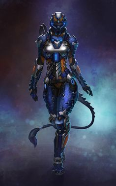 Power Armor Cyberpunk Girl by by Alexandra Verner Mode Cyberpunk, Cyberpunk Girl, Robot Concept Art, Armor Concept, Fantasy Character Design, Character Art, Character Concept, Futuristic Armour, Arte Robot