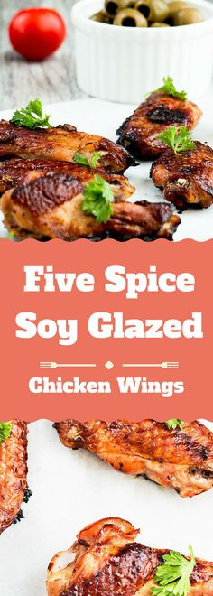 Easy Meal plan, Perfect for Tailgating Recipe! Five Spice Ginger- Soy Glaze Chicken Wings. These wings have a delicious mix of Soy Sauce, Agave Nectar, Ginger, Garlic cloves and some Five Spice Powder for a tiny bit of kick.