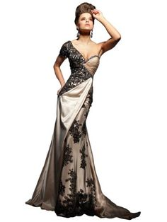 Embroidery One Shoulder Short Sleeve Plus Size Maxi Evening Dress JH-E7784 (L (US 8-10))