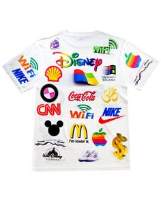 The Brainwash Tee from Shop Jeen Featurs the World's Most Recognized Logos #text #fashion trendhunter.com