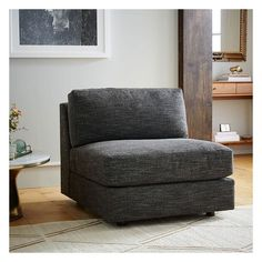 West Elm Urban Armless Chair, Performance Velvet, Stone - Living Room... (€670) ❤ liked on Polyvore featuring home, furniture, chairs, accent chairs, west elm furniture, velvet accent chair, velvet furniture, velvet chairs and west elm