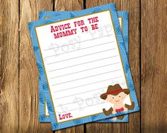 Printable Cowboy Baby Boy Shower Advice Cards - Instant Download