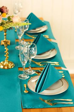 Teal Table Linen Set Special 12 Teal Napkins 20 x 20 inches