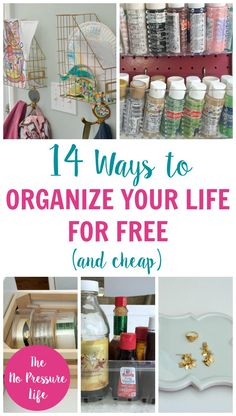 Wow! Check out how you can organize your life for free (or cheap) with these easy organization hacks. Great ideas! | The No Pressure Life