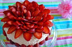 Light Strawberry Flower Cake~ great for Christmas, Mothers Day, Valentines...