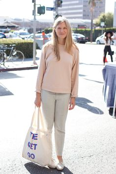 26 Stylish Snaps From L.A. Farmers' Markets #refinery29  http://www.refinery29.com/farmers-market-street-style#slide8  Name: Ashleigh Parsons       What She's Wearing: Base Range sweater, Band of Outsiders pants, Dieppa Restrepo shoes.