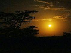 Africa. Kenia. Lago Turkana. Puesta de sol