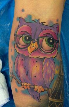 I want a whimsical owl tattoo (not this one) though it is cute. I want my own