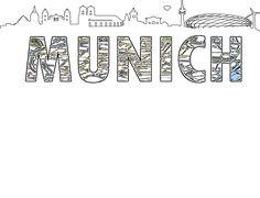 Silueta de skyline y Mapa de Munich