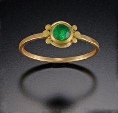 Tiny Emerald Ring with Six Dots | Ananda Khalsa Jewelry